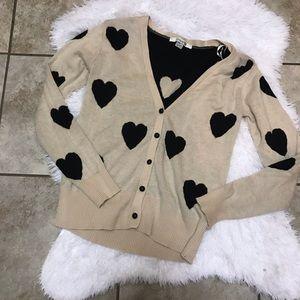 Forever 21 Cream Black Heart V-Neck Cardigan Sz M
